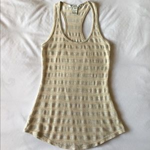 Sheer Tan And Silver Striped Racerback Tank